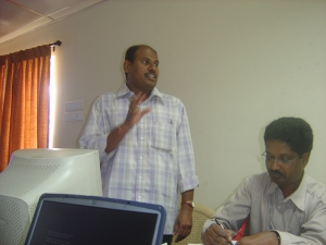 Padmanathan explaining a point