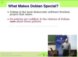 Bradley Kuhn presenting at #Debconf 16
