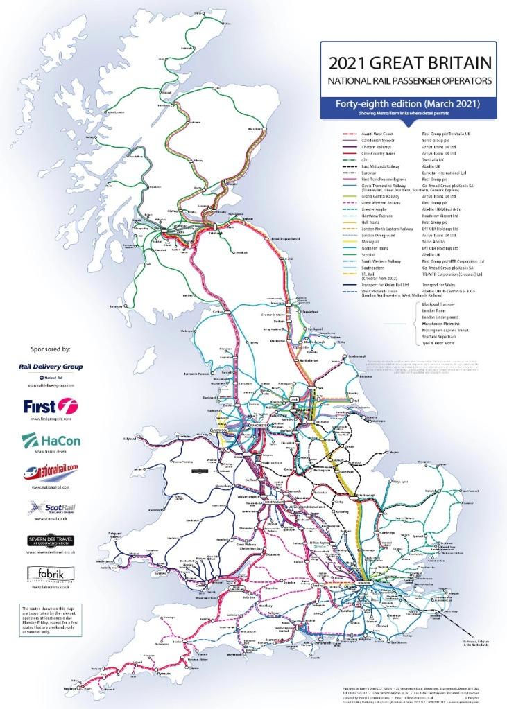 UK railway map with operators